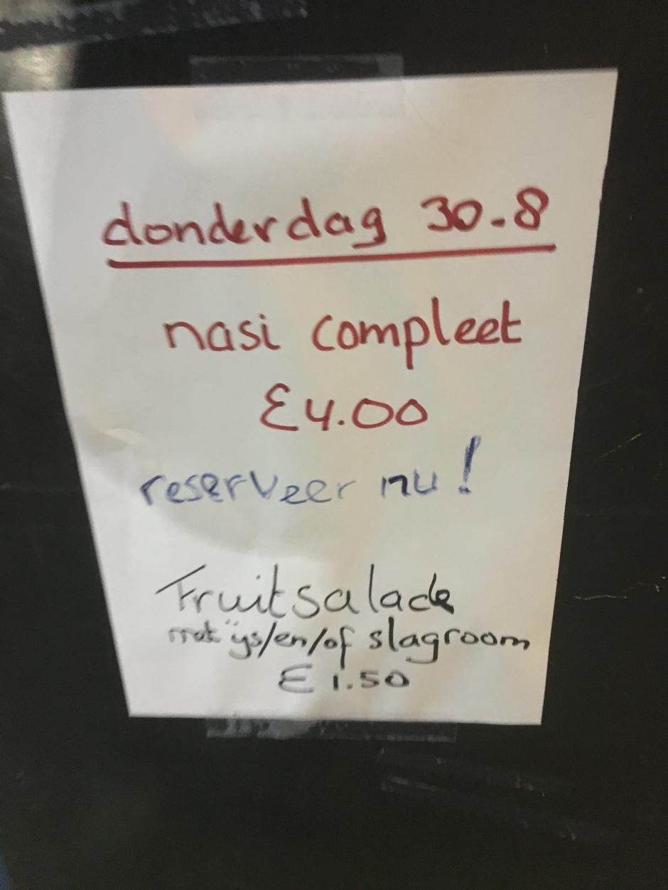 JSCK 2018 Maaltijden (Donderdag 30-8)